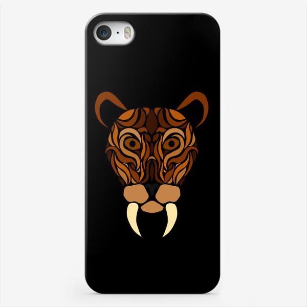 Чехол iPhone «Саблезубый на черном»