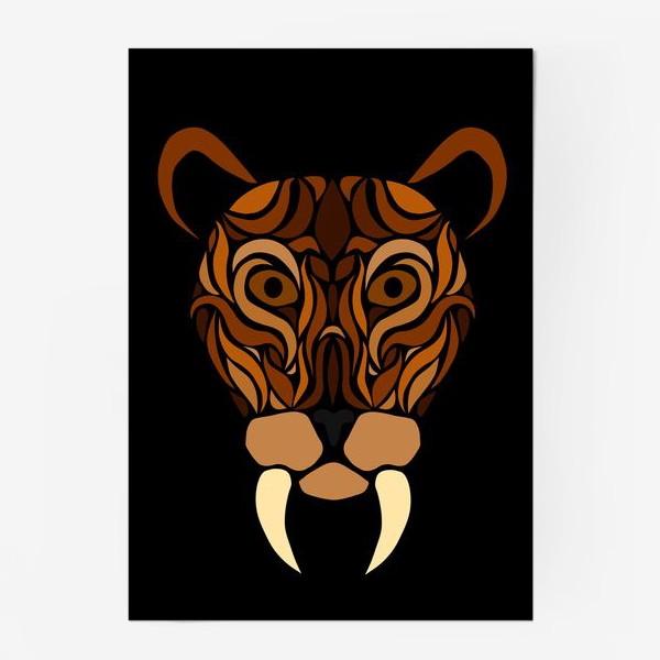 Постер «Саблезубый на черном»