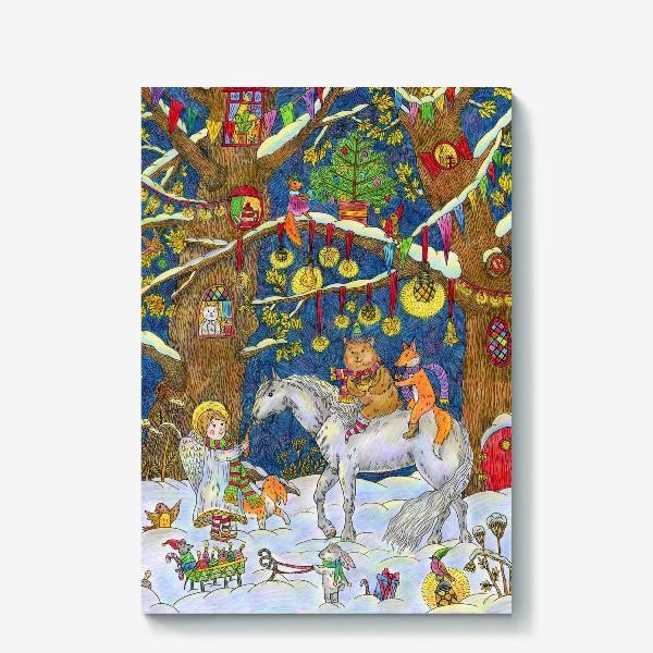 Холст «Рождество в сказочном лесу»