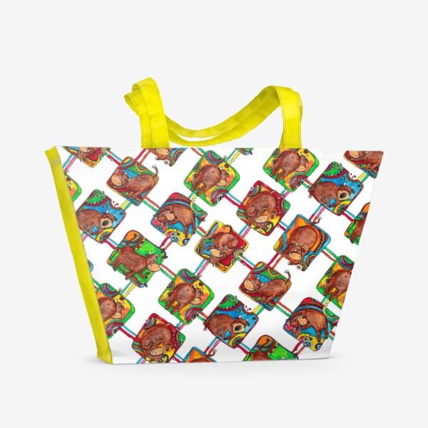 Пляжная сумка «Быки 2021. Паттерн»