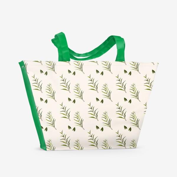 Пляжная сумка «Листья на бежевом»