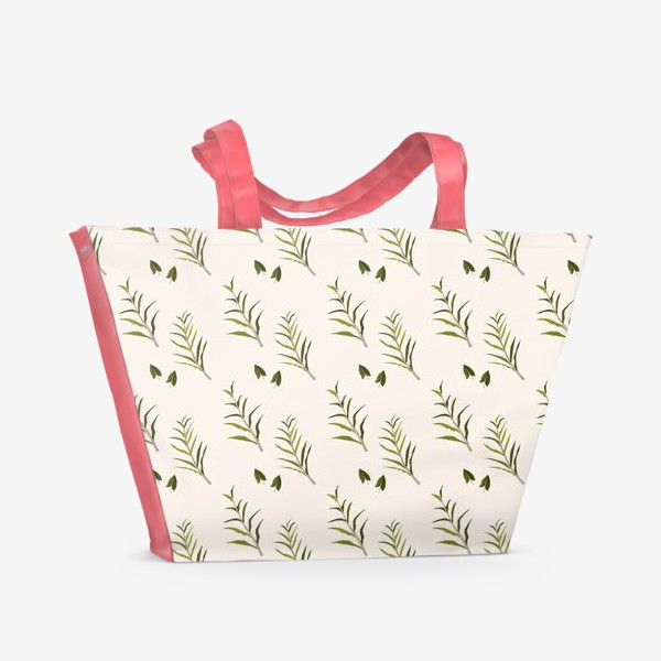 Пляжная сумка «Листья на бежевом (паттерн)»