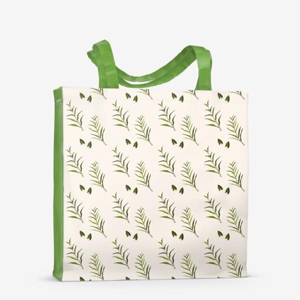 Сумка-шоппер «Листья на бежевом (паттерн)»