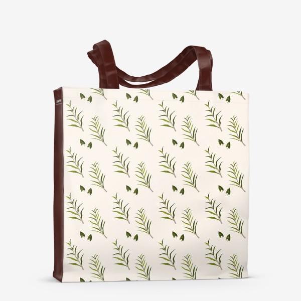 Сумка-шоппер «Листья на бежевом»