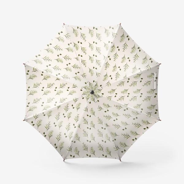 Зонт «Листья на бежевом»