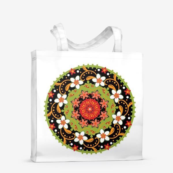 Сумка-шоппер «Цветочный узор в русском народном стиле»
