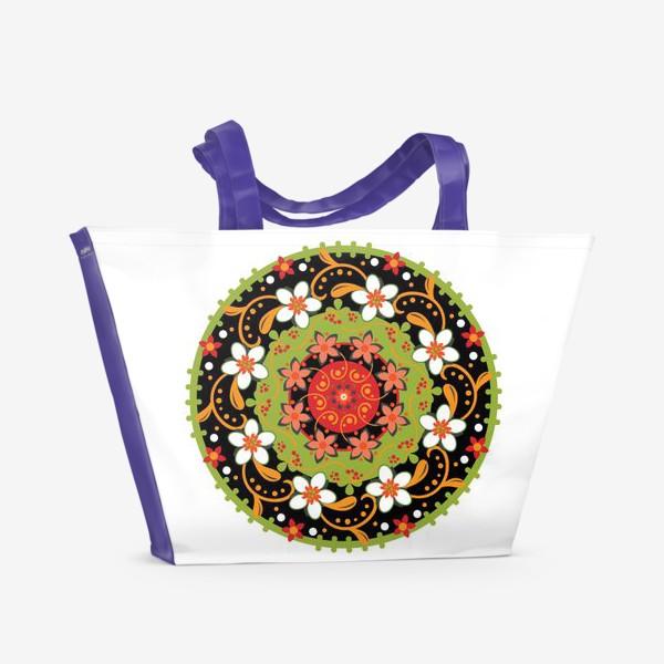 Пляжная сумка «Цветочный узор в русском народном стиле»