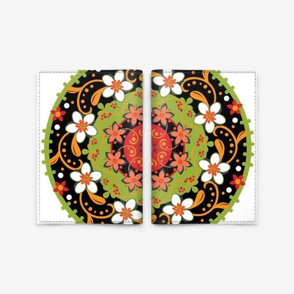 Обложка для паспорта «Цветочный узор в русском народном стиле»