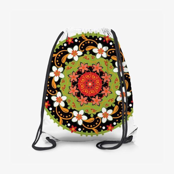 Рюкзак «Цветочный узор в русском народном стиле»