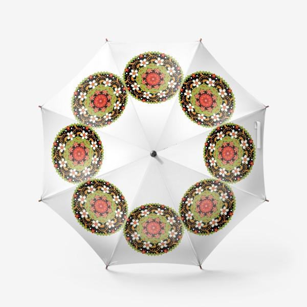 Зонт «Цветочный узор в русском народном стиле»