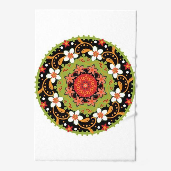 Полотенце «Цветочный узор в русском народном стиле»