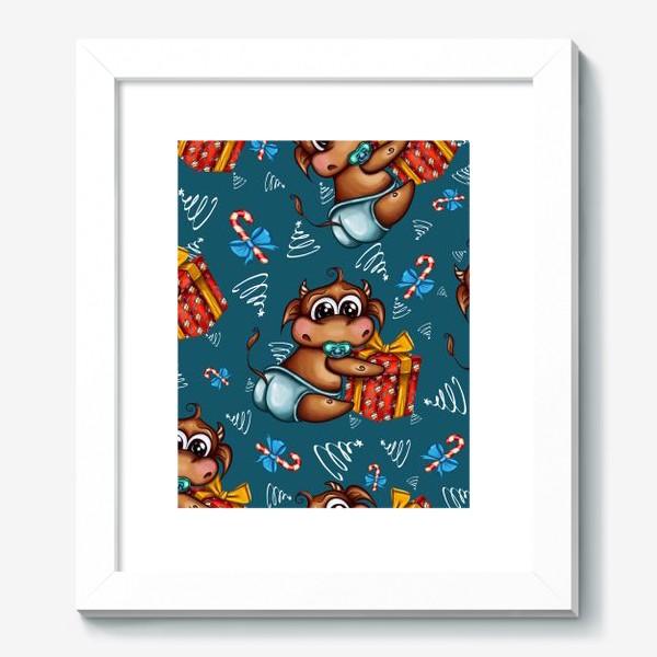 Картина «Малыш Бычок с подарком на голубом фоне»
