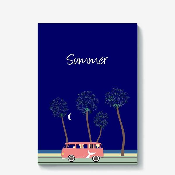 Холст «Ретро автобус на побережье, пальмы, луна, лето»