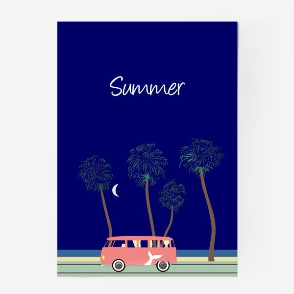 Постер «Ретро автобус на побережье, пальмы, луна, лето»