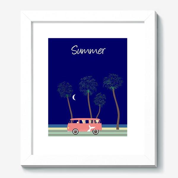 Картина «Ретро автобус на побережье, пальмы, луна, лето»