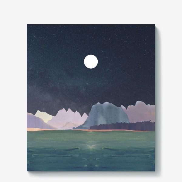 Холст «Звездное небо с луной над горами и океаном »