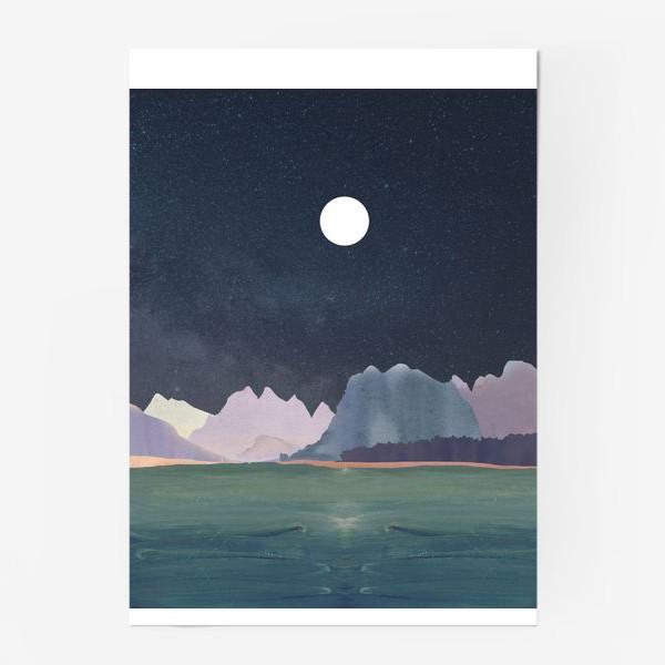 Постер «Звездное небо с луной над горами и океаном »
