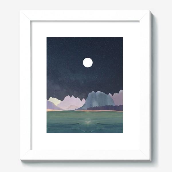 Картина «Звездное небо с луной над горами и океаном »