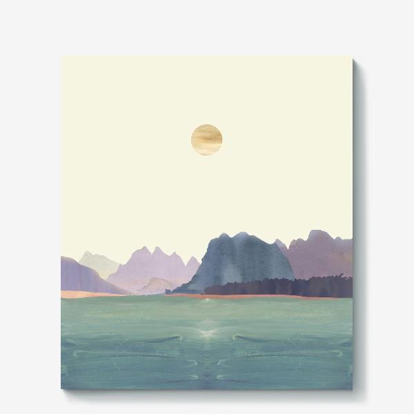 """Холст «Пейзаж в стиле минимализм: """"Изумрудное море, небо и горы"""", пастельные тона »"""