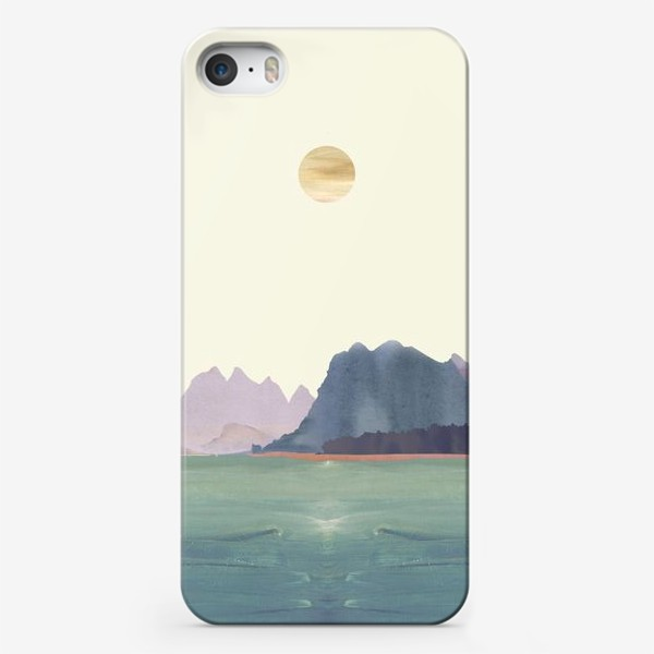 """Чехол iPhone «Пейзаж в стиле минимализм: """"Изумрудное море, небо и горы"""", пастельные тона »"""