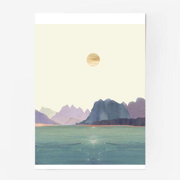 """Постер «Пейзаж в стиле минимализм: """"Изумрудное море, небо и горы"""", пастельные тона »"""