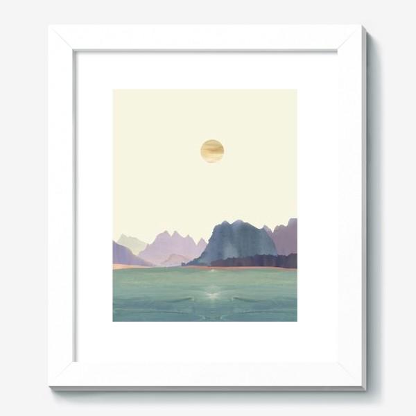 """Картина «Пейзаж в стиле минимализм: """"Изумрудное море, небо и горы"""", пастельные тона »"""