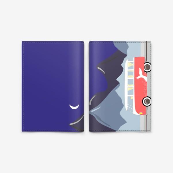 Обложка для паспорта «Ретро автобус на дороге, горы и луна»