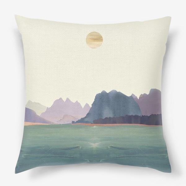 """Подушка «Пейзаж в стиле минимализм: """"Изумрудное море, небо и горы"""", пастельные тона »"""