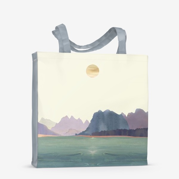 """Сумка-шоппер «Пейзаж в стиле минимализм: """"Изумрудное море, небо и горы"""", пастельные тона »"""