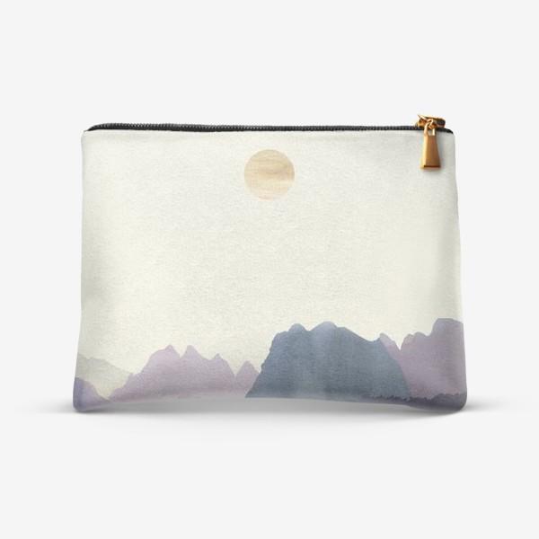 """Косметичка «Пейзаж в стиле минимализм: """"Изумрудное море, небо и горы"""", пастельные тона »"""