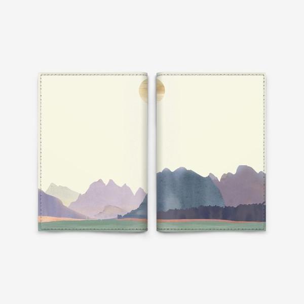 """Обложка для паспорта «Пейзаж в стиле минимализм: """"Изумрудное море, небо и горы"""", пастельные тона »"""