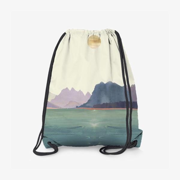 """Рюкзак «Пейзаж в стиле минимализм: """"Изумрудное море, небо и горы"""", пастельные тона »"""
