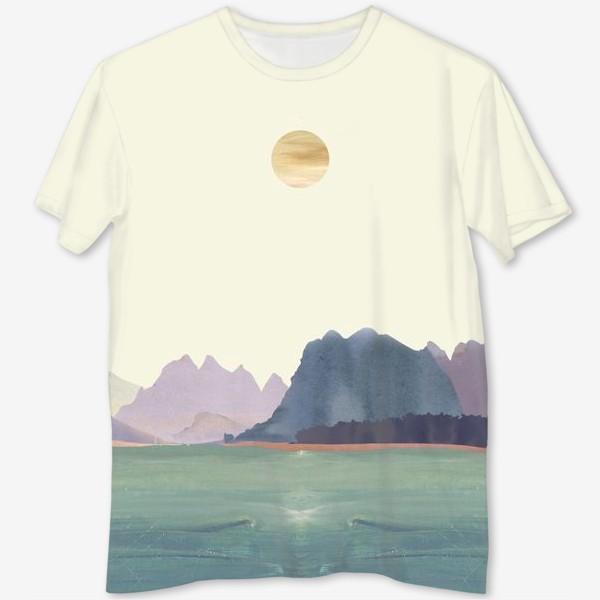 """Футболка с полной запечаткой «Пейзаж в стиле минимализм: """"Изумрудное море, небо и горы"""", пастельные тона »"""