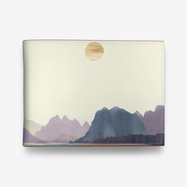 """Кошелек «Пейзаж в стиле минимализм: """"Изумрудное море, небо и горы"""", пастельные тона »"""
