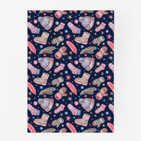 Постер «Акварельный паттерн с элементами зимней одежды»