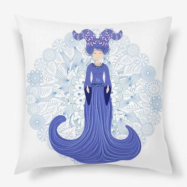 Подушка «Знак зодиака Козерог и цветочная мандала»