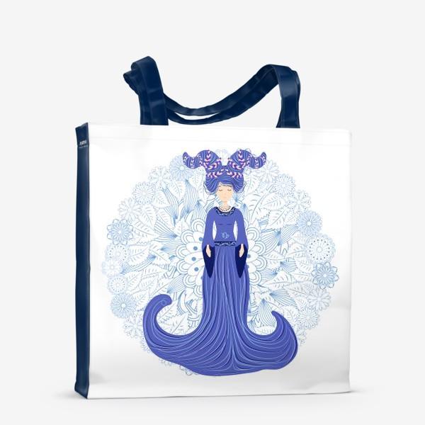 Сумка-шоппер «Знак зодиака Козерог и цветочная мандала»