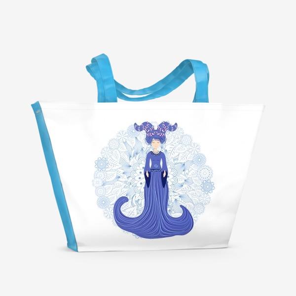 Пляжная сумка «Знак зодиака Козерог и цветочная мандала»