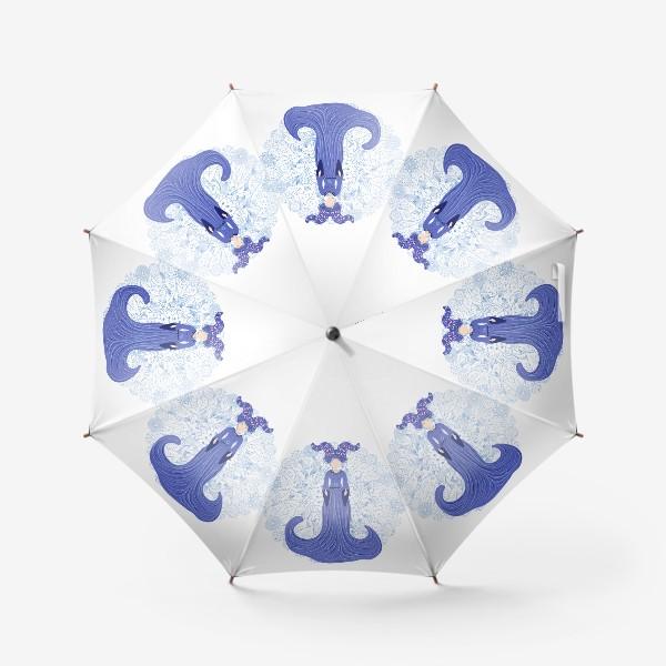 Зонт «Знак зодиака Козерог и цветочная мандала»