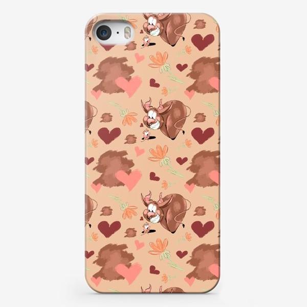 "Чехол iPhone «Паттерн ""Влюблённый бык и суслик""»"