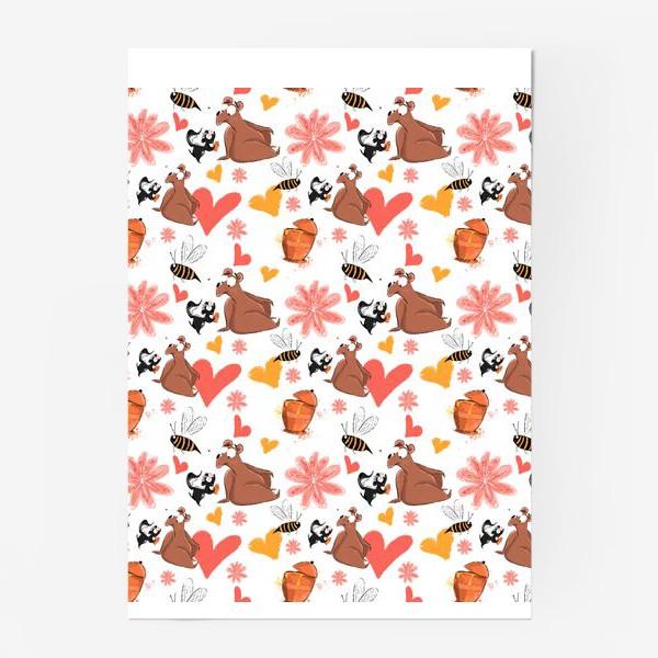 """Постер «Паттерн """"Влюблённый скунс и медведь""""»"""