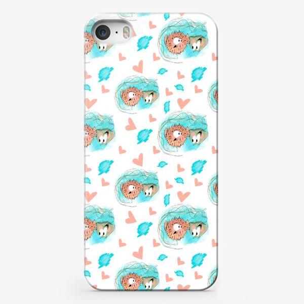 "Чехол iPhone «Паттерн ""Влюблённая медуза и рыба""»"