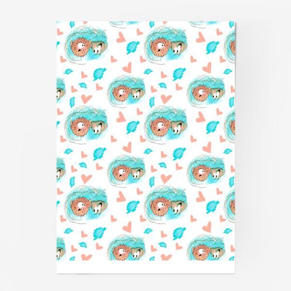 "Постер «Паттерн ""Влюблённая медуза и рыба""»"