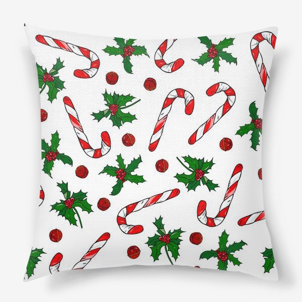 Подушка «рождество, остролист и конфеты»