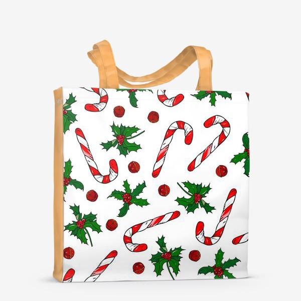 Сумка-шоппер «рождество, остролист и конфеты»