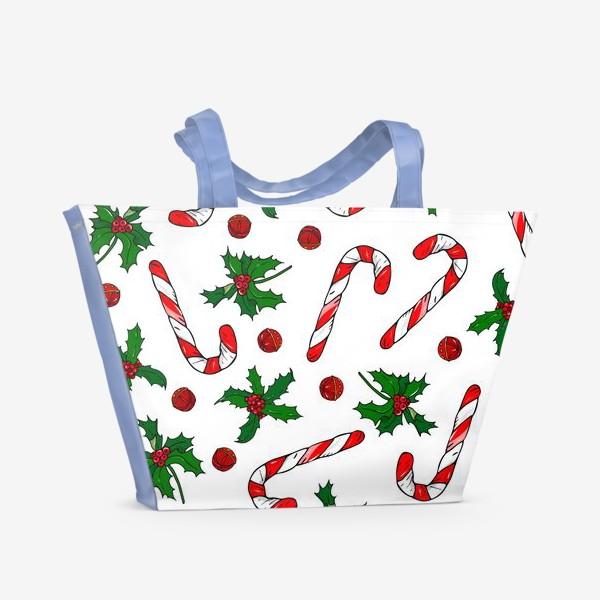 Пляжная сумка «рождество, остролист и конфеты»