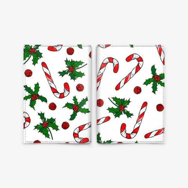 Обложка для паспорта «рождество, остролист и конфеты»