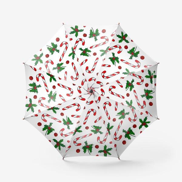 Зонт «рождество, остролист и конфеты»