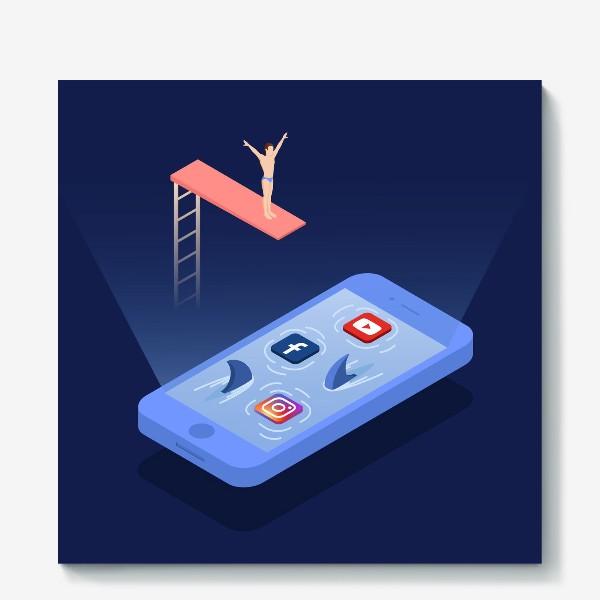 Холст «Прыжок в соцсети»
