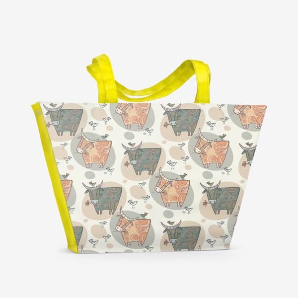 Пляжная сумка «Символ года 2021. Релакс. Паттерн.»